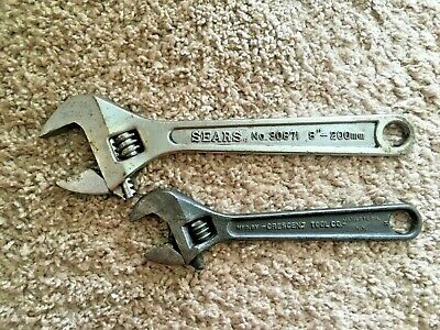 "2 Adjustable Wrenches Sears 8"" 80871 & Crescent Tool Co. 6"""