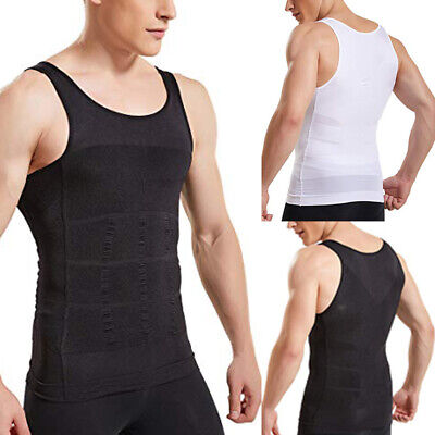 US Mens Slimming Body Shaper Vest Moobs Chest Compression Shirt Tank Top Corsets