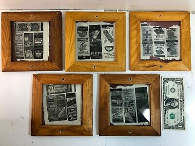 Lot of 5 Vintage Match Pack Cases in New Wooden Frames