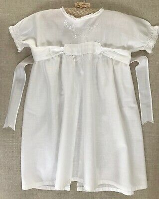 VINTAGE BABY or DOLL NIGHTGOWN, HAND-EMBROIDERY, WHITE COTTON LAWN