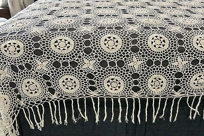 Pair Vintage Hand Crochet Lace Twin Single Bedspreads / Throws, Ivory Cotton
