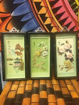 Chinese Carved Shell Art Mother of Pearl Set of 3 Birds & Flowers Vintage Art