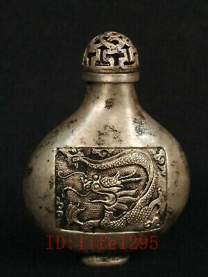 Rare Collecting China Tibet Ancient Hand Made Silver Dragon Phoenix Snuff Bottle