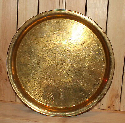 1955 Egyptian hand made engraved brass serving tray