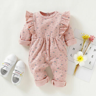 Newborn Baby Girl Floral Romper Bodysuit Jumpsuit Playsuit Ruffle Clothes Outfit