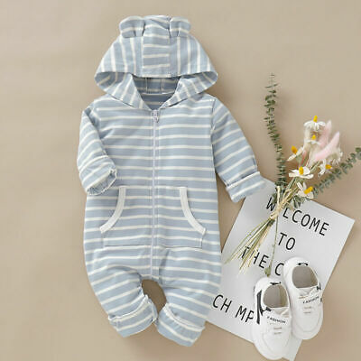 Baby Girl Boy Striped Hooded Romper Jumpsuit Bodysuit Cotton Outfits Clothes