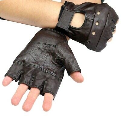 Perrini Workout Brown Leather Finger less Gloves Exercise Fitness  Lifting Glove