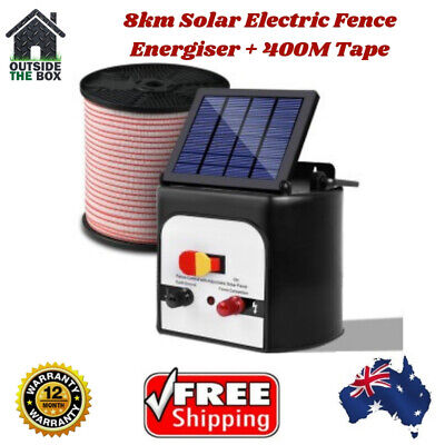 8km Solar Fence Charger Energizer Electric 0.3j Giantz Power Poly Wire 400m Tape