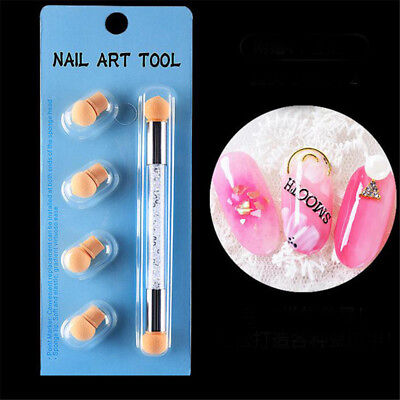 Double-ended Nail Art Sponge Brush Glitter Powder Gradient Pens Manicure Utensil