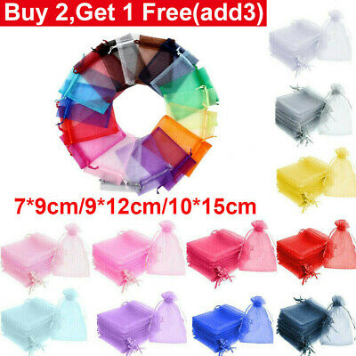 5-50 Organza Gift Bags Jewellery Pouches Xmas Wedding Party Favours Large Small