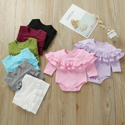 Newborn Baby Girls Clothes Ruffle Long Sleeve Romper Jumpsuit Bodysuit Outfits