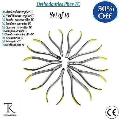Dental Orthodontics Pliers Set TC Distal Cutter Hard Wire Bending