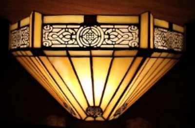 Tiffany Style Wall Lamp Glass Stained Uplighter Lighting Handcrafted Art Vintage