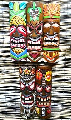 Amazing Carving Wooden TIKI MASK 50 cm NEW DESIGN Wall Decoration Multicoloured