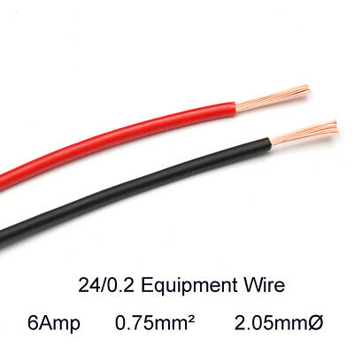 Hook Up Equipment Wire Cable 24/0.2mm Stranded Core 0.75mm2 1000V  2.05mmØ 6Amp
