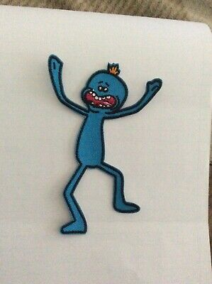 RICK AND MORTY  MR MEESEEKS IRON  ON FUN PATCH  buy 2  WE SEND. 3 OF THESE.