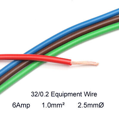 Hook Up Equipment Wire Cable 32/0.2mm Stranded Core 1.0mm2 1500V  2.5mmØ 6Amp