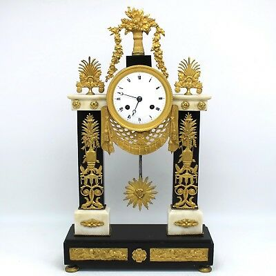 Antique Empire Pendulum mantel Clock ormolu (H.55) in Bronze and Marble - 19th
