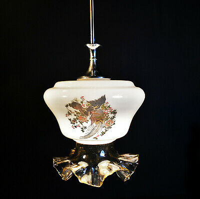 Vintage 40s art deco school house lantern light pendant Opaline milk glass shade
