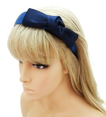 Gorgeous Navy Blue Satin Headband Alice Band With Knotted Bow Design