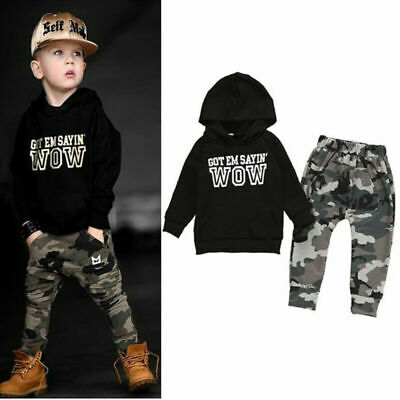 Kids Baby Boys Clothes Outfit Set Hoodie T Shirt Tops+Camouflage Pants Leggings