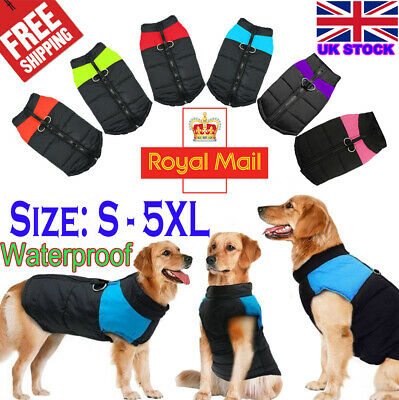 Waterproof Pet Dog Clothes Winter Autumn Warm Padded Coat Vest Jacket Apparel +