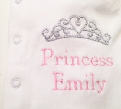 Personalised Sleepsuit/Baby Grow Prince Princess Design Vest Bib Set Shower Gift