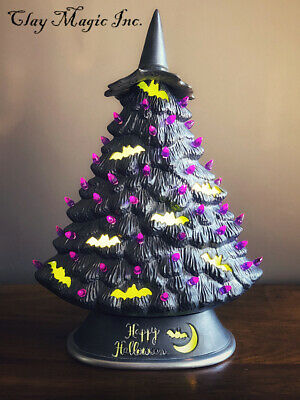 Ceramic Bisque Hand-Painted Medium Mantle Tree With Base, Halloween