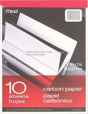 "Mead 40112 Carbon Paper Tablet 8.5"" x 11"" 10 Sheets 43100401124 AOI NEW"