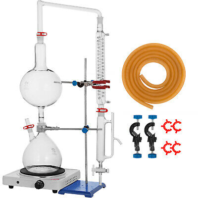 2L Essential Oil Steam Distillation Apparatus Kit Graham Condenser  110V