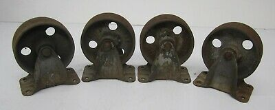 Set 4 Antique Vtg Fairbanks Fixed Wheels Cast Iron Industrial Cart Table Salvage