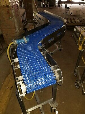 "Stainless Steel 14"" x 104"" S shape washdown Conveyor With Plastic Belt"
