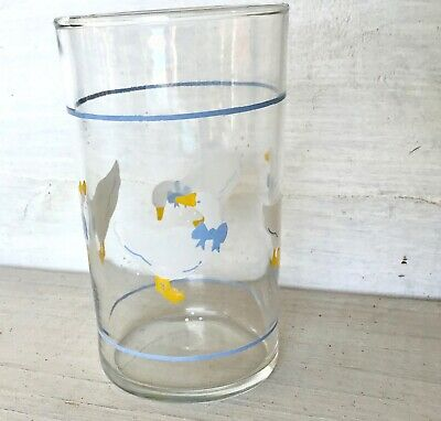 """Vintage Drinking Juice Glass Country Goose Geese Duck Blue Ribbon Bow 4"""" Libbey"""