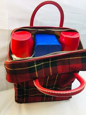 Vintage plaid thermos picnic set 2 thermos case and lunchbox Ribbed Stainless