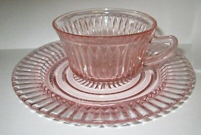 Depression Glass Hocking Queen Mary Cup Pink AND 6-3/4 INCH BREAD BUTTER PLATE
