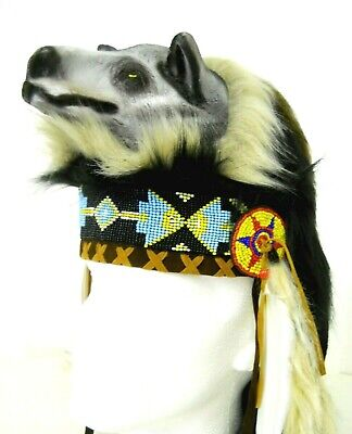 Amazing Quality Traditional Indian Chief Head Hat Wolf Head One Size Costume