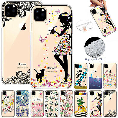 For iPhone 11 Pro Max 11 Patterned Soft Rubber Clear Silicone TPU Gel Case Cover
