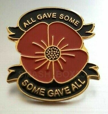 D Day Remembrance Red Poppy Flower 'All Gave Some' 2019 Enamel Lapel Pin Badge