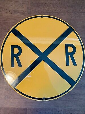 """Vintage Ande Rooney~Yellow 10"""" Railroad Crossing~Porcelain Sign"""
