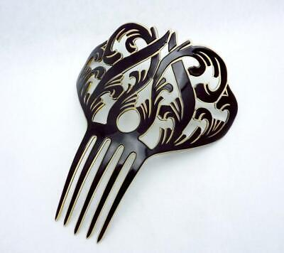 Huge Victorian Black Celluloid Hair Comb Ornament Ornate 25031