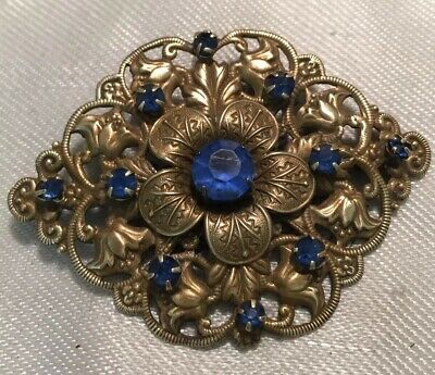 Vintage Jewellery Beautiful Large Czech Art Deco Sapphire Blue Floral Brooch