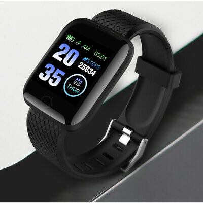 Black 116Plus Smart Watch Bluetooth Heart Rate Blood Pressure Fitness Tracker UK