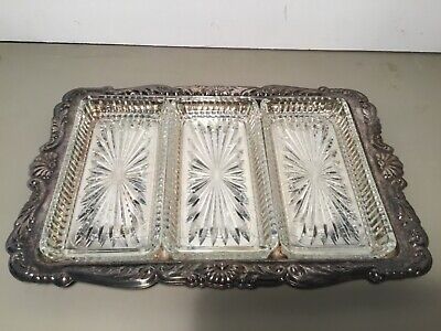 Vintage Leonard Silverplate 3 Glass Compartment Serving Tray, Condiments, Snacks