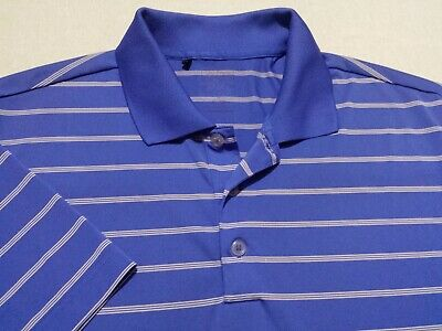 Adidas PureMotion Mens Medium Short Sleeve Blue Striped Athletic Polo Golf Shirt