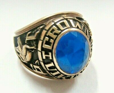 1980 Crown Vikings HS Class Ring Blue Stone SOLID 10K Yellow Gold Jostens s9 Men