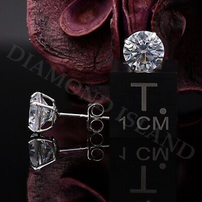 2Ct Brilliant Created Diamond Earrings 14K Real White Gold Round Solitaire Studs