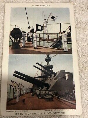 Antique 1908, USS Connecticut postcard, 1 cent stamp, post-marked Norfolk, VA
