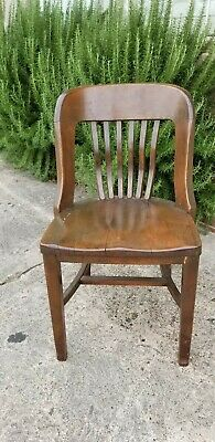 Antique c 1920s Walnut Bankers Chair