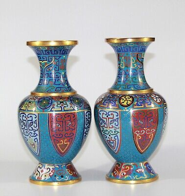 Stunning pair of Qing dynast Chinese cloisonne vases 1170,