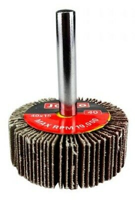 Josco MOUNTED FLAP WHEEL 40x15mm, 6mm Cylindrical Shank- 40-Grit Or 80-Grit